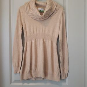 maternity cowl neck beige/nude sweater, small